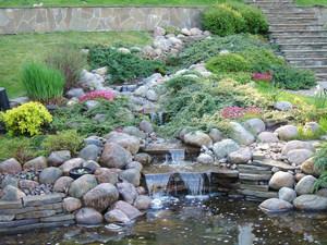 Поток с водопадами